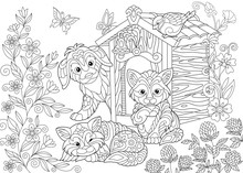 Coloring Page Of Dog, Two Cats...