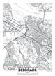 Detailed vector poster city map Belgrade
