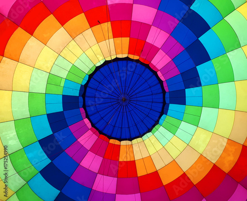 Fotobehang Ballon Multi colored hot air balloon view from inside