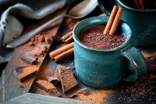 Foto auf Gartenposter Schokolade Cup of hot chocolate with a stick of cinnamon and the flakes of grated dark chocolate