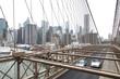 New York, Lower Manhattan skyline as seen from the Brooklyn Bridge