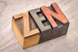 zen word abstract in wood type