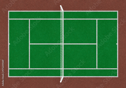 Vászonkép  Tennis field. Tennis green court. Top view. Isolated. Sports mesh