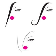 Set Of Beauty Icons With Pink Lips