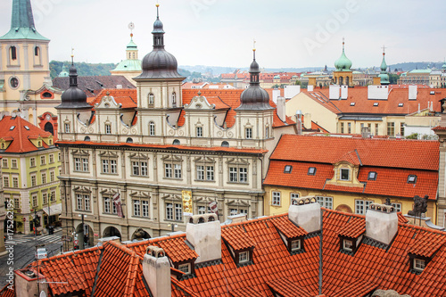 Staande foto Praag Panoramic aerial view of old town mala strana, Prague Czech republic. Red tile roofs.