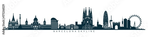 Barcelona skyline, horizon Wallpaper Mural