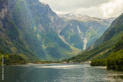 Fotografie, Obraz  traval on Large Cruise ship from the port of Flam to Stavanger, in sunny summer day, Norway