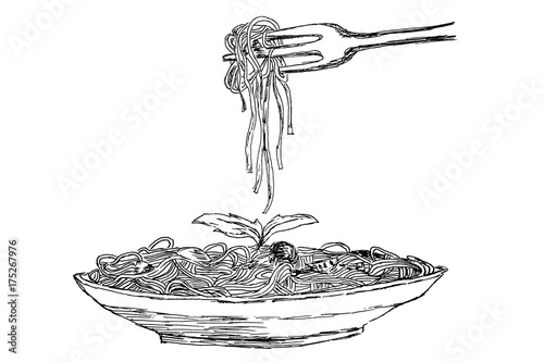Drawing Spaghetti Pasta With Meatballs And Tomato Sauce Food