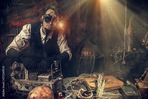 steampunk man scientist Fototapet