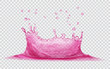 Transparent water crown with water drops. Splash of water in pink colors, isolated on transparent background. Transparency only in vector file