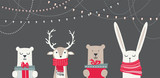 Fototapeta Child room - banner with cute winter animals with presents and scarfs. merry christmas and happy new year