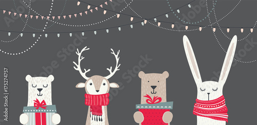 Fotografie, Obraz  banner with cute winter animals with presents and scarfs