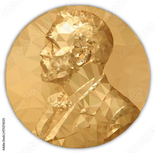 Fotografía  Gold Medal Nobel prize, graphics  elaboration to polygons