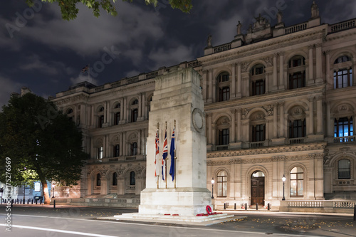 The Cenotaph memorial in Whitehall, London at night. Poster