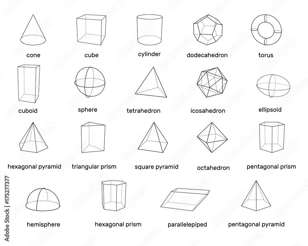 Fototapety, obrazy: Basic 3d geometric shapes. Isolated on white background. Vector illustration.