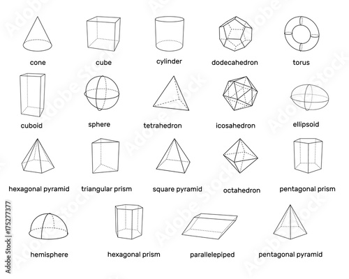 Fototapeta Basic 3d geometric shapes. Isolated on white background. Vector illustration. obraz