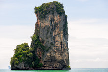 High Beautiful Cliff, Protruding From The Sea In A Tourist Place, Krabi Resort, Thailand