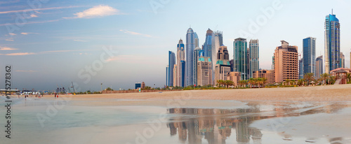 Recess Fitting Dubai Dubai - The Marina towers from beach in evening light.