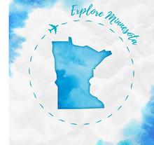 Minnesota Watercolor Us State ...