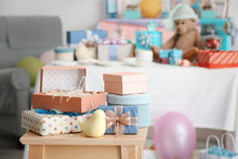 Gifts For Baby Shower On Stool...
