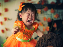 Baby Girl Crying On Her First Halloween Party