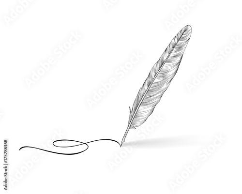 Obraz na plátně Feather pen icon. Calligraphy sign.