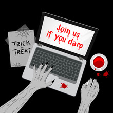 Zombie Working With Mouse Computer. Hands Typing On The Laptop Keyboard And Using Mouse. Top View Of  Illustration. Happy Halloween Day, Join Us If You Dare Concept.