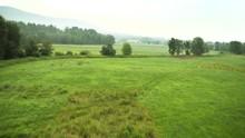 Lush Crop Fields In Maine, Aer...