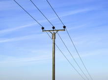 Overhead Electricity Pole And ...