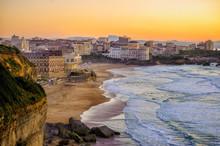 Sunset Over Biarritz Beaches, ...