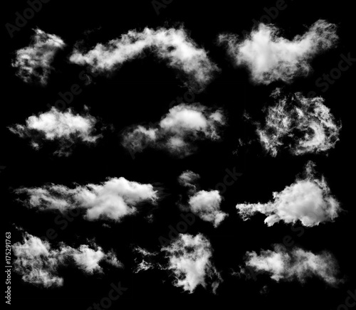 Canvas Prints Heaven Set of clouds on black background
