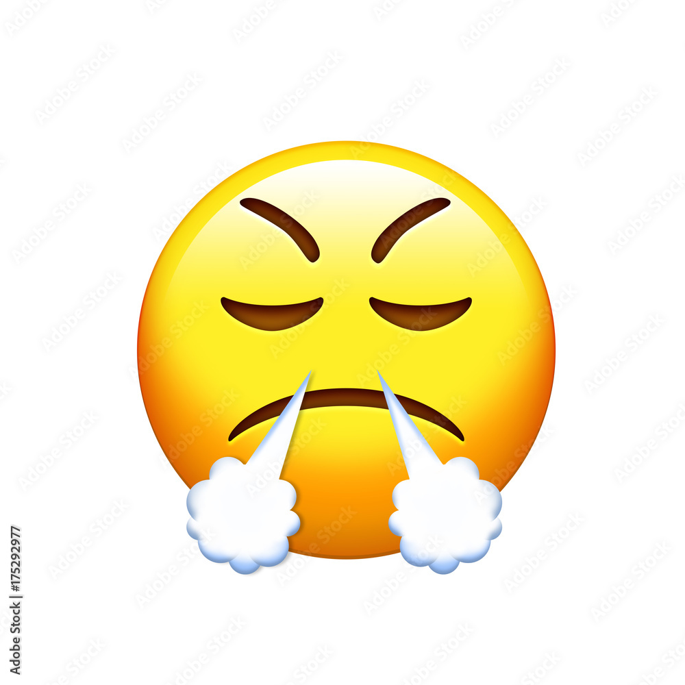 Fotografie obraz emoji sad angry and feeling depressed yellow face icon posters cz