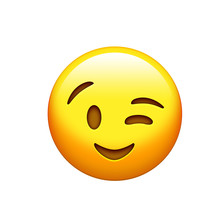 Isolated Yellow Smiley Face And Single Wink Icon