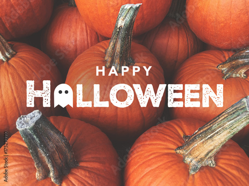 Photo Happy Halloween Typography With Pumpkins Background
