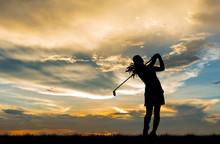Silhouette Golfer Playing Golf...