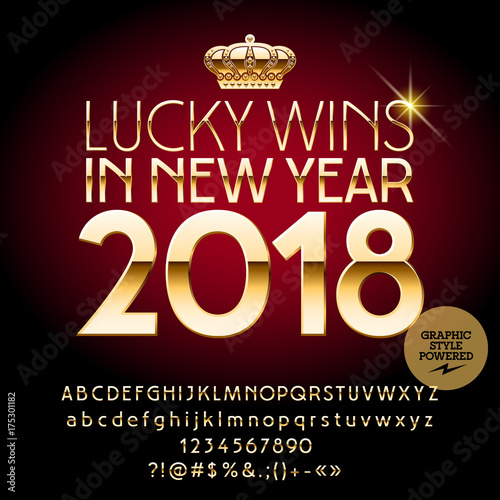 Vector Casino Happy New Year Greeting Card Set Of Alphabet Letters