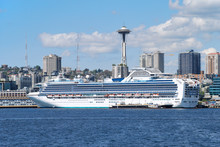 A Cruise Ship Bound For Alaska Docks In Seattle