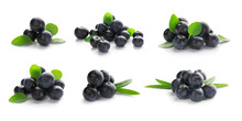 Collage Of Acai Berries On Whi...
