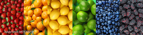 Canvas Prints Fruits Collage of different fruits and berries