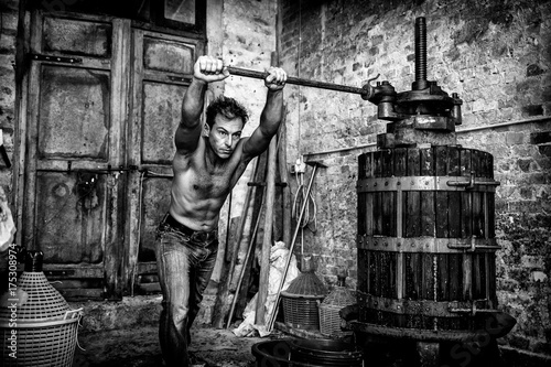 Fotomural Shirtless winemaker farmer working on a traditional wine press