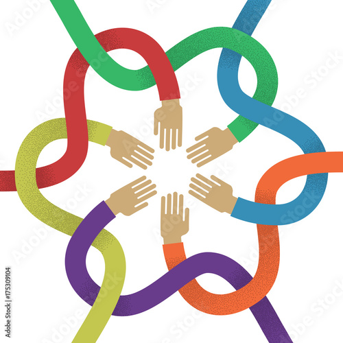 Fototapeta Association several intertwined multicolored hands flat style