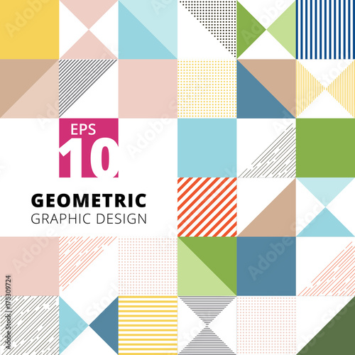 Set of geometric graphic design colorful pattern background, square, triangle, l Wallpaper Mural