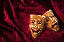 Theater Masks, Comedy And Drama On A Red Curtain / 3D Rendering, Mixed Media.