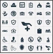 Vector Illustration Set Of Simple Warrant Icons. Elements Banking House, Questionaire, Heart And Other Synonyms Clipboard, Skull And Car.