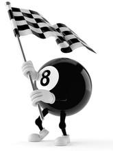 Eight Ball Character With Raci...