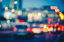 Multicolored Bokeh Of Cars At Rush Hour In Milan City Urban Area - Defocused Traffic Jam In Highway Intersection - Transport Concept With Blurred Vehicles At Night - Dark Vivid Color Tones Filter