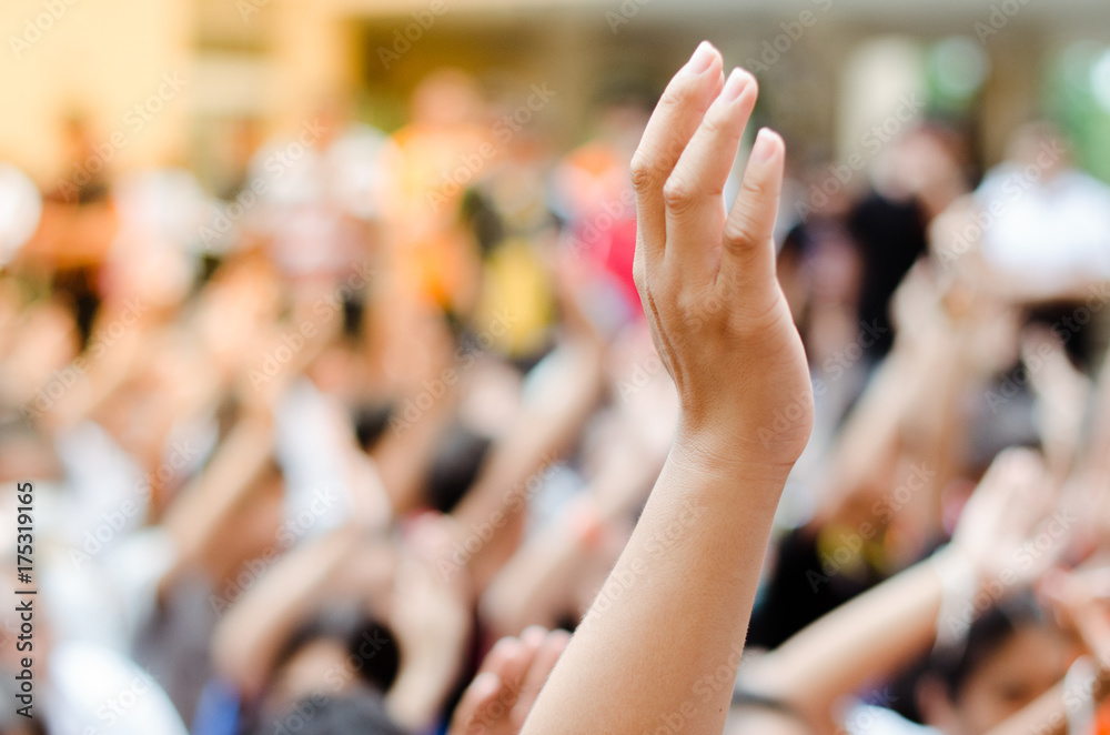 Fototapety, obrazy: Raising Hands for Participation