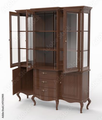 Vászonkép Wooden sideboard with open doors