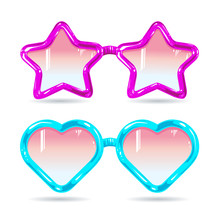 Glasses Style Disco Glasses In The Shape Of Hearts And Stars In Purple And Blue