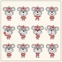 Collection emoticons of isolated girls mouse in cartoon style. Set of charming little mouse girl in various poses.